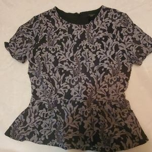 Ann Taylor, black and silver,  short sleeve blouse